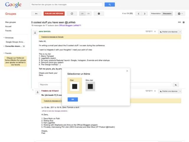 Google Groups : les thèmes font leur entrée