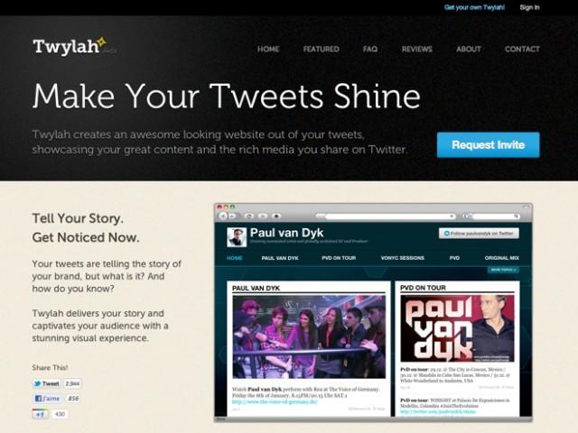 Créer un site avec ses tweets grâce à Twylah
