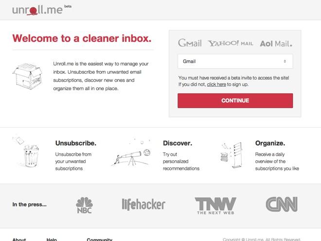 Nettoyer sa boite mail avec Unroll.me (+ invitations)