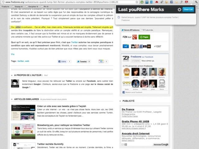 youRhere : mettez des marques-pages à vos sites préférés