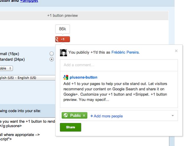 """Google : un nouveau bouton """"+1"""" et des remerciements intégrés au moteur de recherche"""