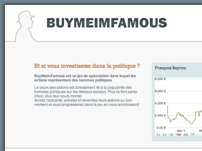 Buy Me I'm Famous, spéculez avec les personnalités politiques du moment