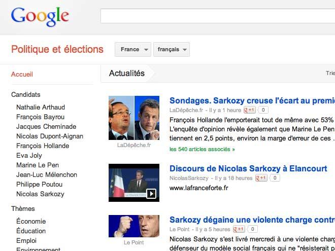 Présidentielles 2012 : lancement de Google Elections
