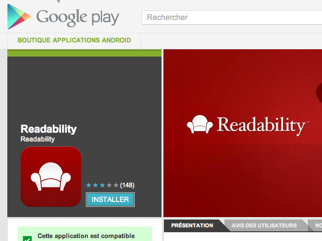 Readability est (aussi) disponible sur Android
