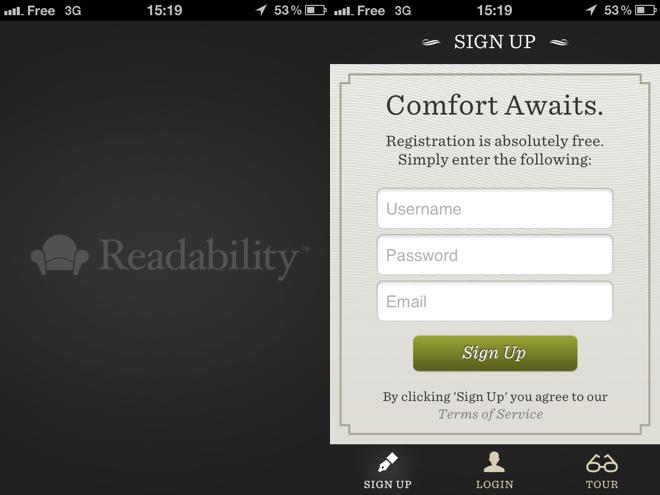Readability est disponible sur iOS