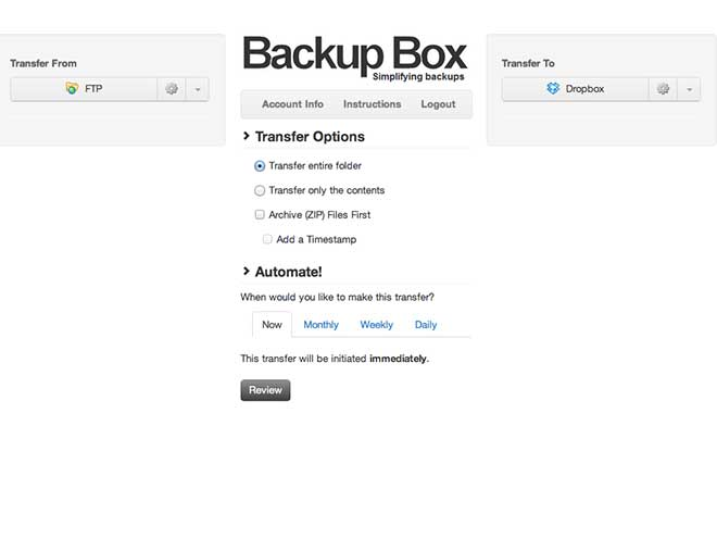 Sauvegarder le contenu d'un serveur FTP vers Dropbox avec Backup Box