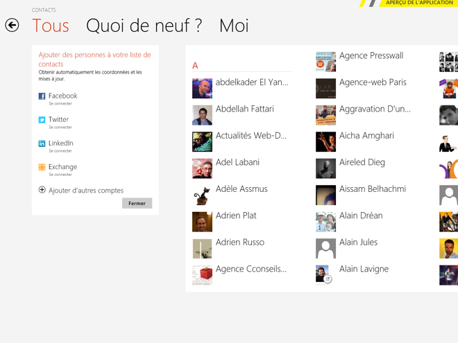 Windows 8 Consumer Preview : les contacts