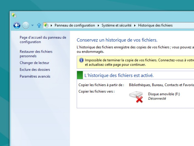 Windows 8 Consumer Preview : copie et historique de fichiers