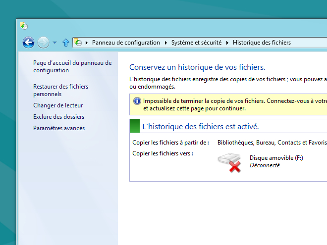 Windows 8 Consumer Preview : copie et historique de fichiers