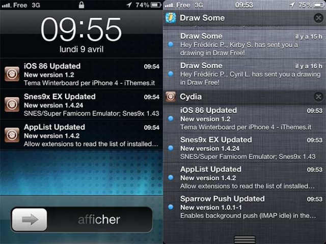 Intégrer Cydia au centre de notifications d'iOS