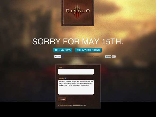 Sorry For May 15, un générateur d'excuses bidons pour Diablo 3
