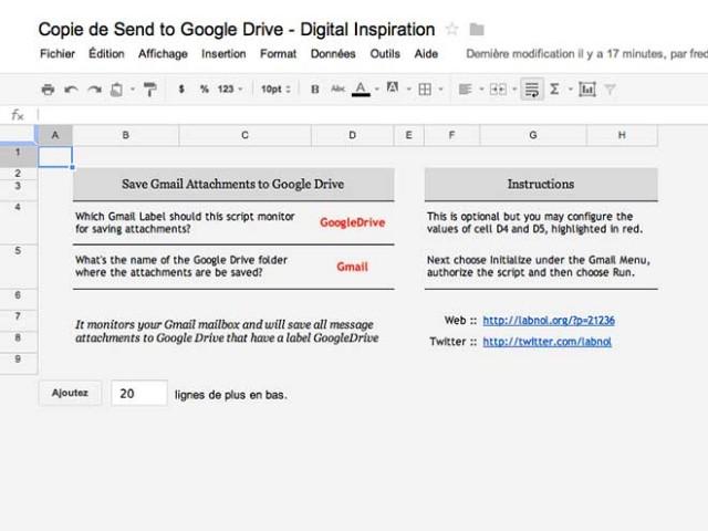 Envoyer les pièces jointes de Gmail vers Google Drive