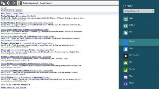 Les premières captures de Firefox Metro
