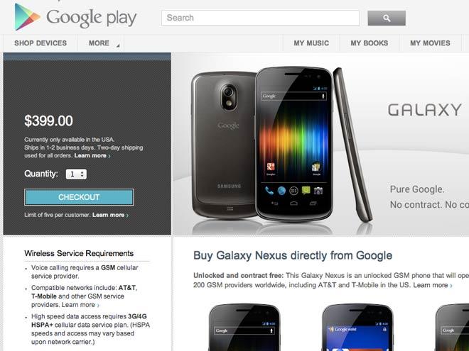 Le Google Galaxy Nexus à 399 $... uniquement aux Etats-Unis