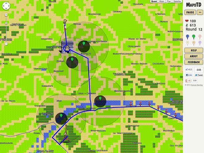 Un Tower Defense dans Google Maps