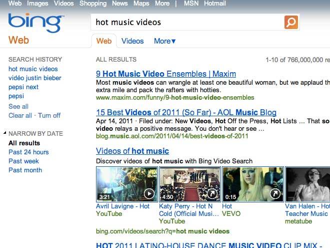 Bing Videos : le plein de nouveautés
