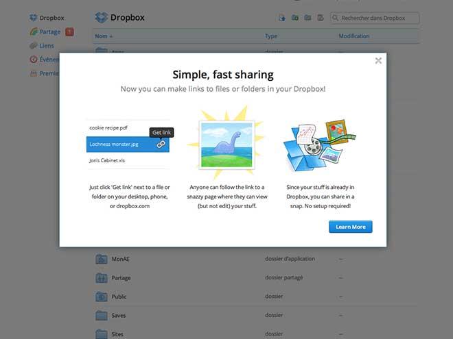 Dropbox : le partage de dossiers ou de fichiers avec un simple lien