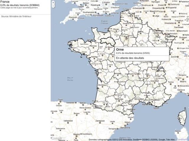 Les résultats du 1er tour des élections présidentielles avec Google Maps