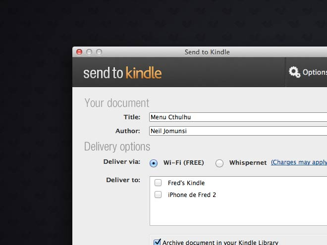 Send to Kindle est arrivé sur Mac OS