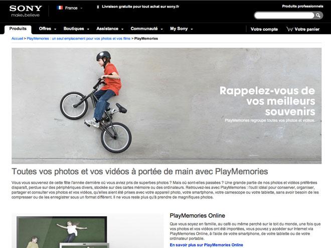 Sony : SEN et PlayMemories Online
