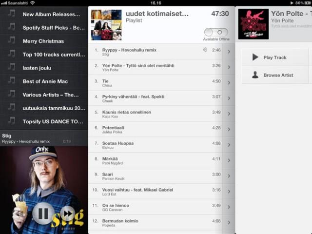Spotify sur iPad avec Spotable