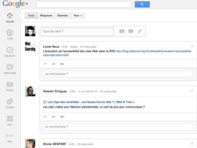 Supprimer l'espace blanc du nouveau Google+