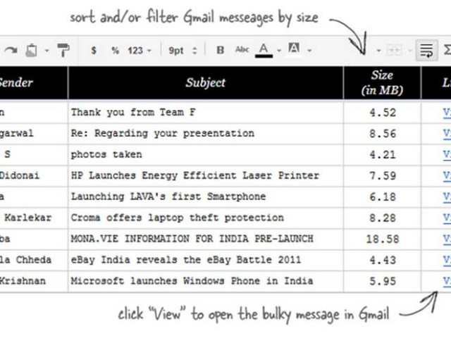 Trier les mails Gmail selon leur poids avec Google Docs