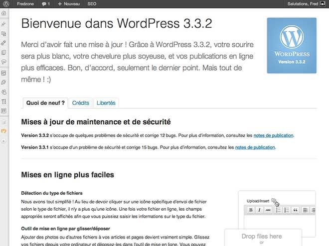 Wordpress 3.3.2 : à installer de toute urgence !
