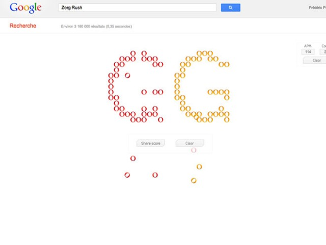"Zerg Rush, un nouvel ""easter egg"" pour Google"