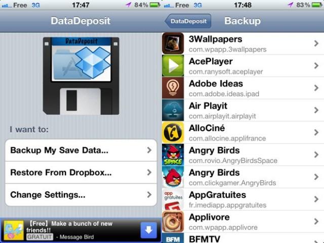 DataDeposit, sauvegarder ses jeux et ses applications iOS sur Dropbox (Cydia)