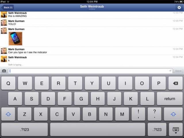 Les premières captures de Facebook Messenger sur iPad