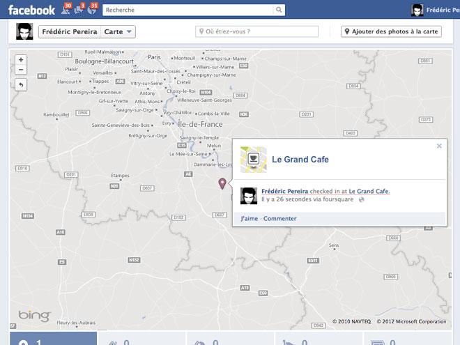 """Les """"check-ins"""" de Foursquare arrivent dans la carte de Facebook Timeline"""