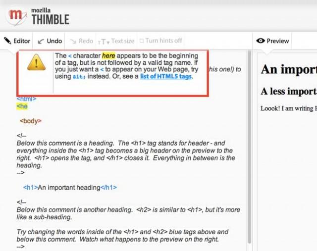 Thimble, l'éditeur HTML en ligne par Mozilla