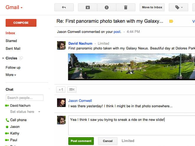 Google+ : une intégration plus poussée sur les notifications dans Gmail
