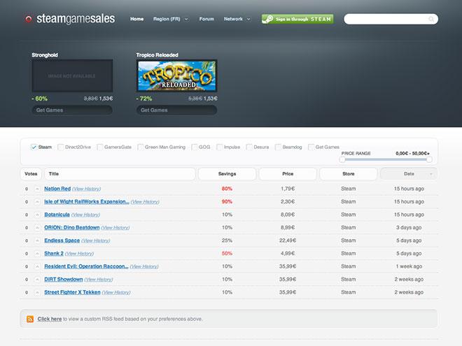 Suivre les promotions de Steam avec SteamGameSales