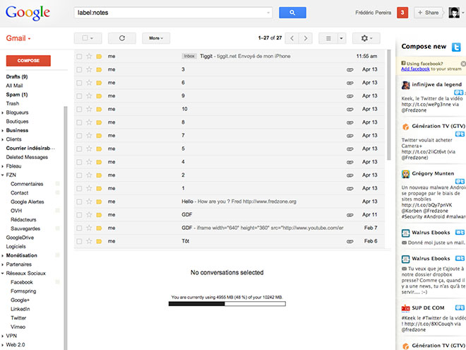 Twitter et Facebook dans Gmail, Hotmail et Yahoo avec Unifyo