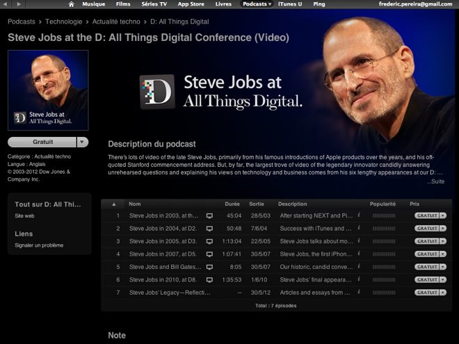 Toutes les interventions de Steve Jobs à D: All Things Digital en téléchargement gratuit