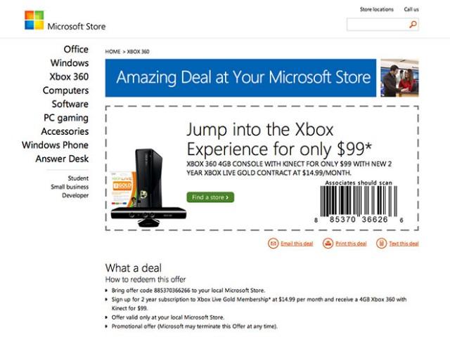 Xbox 360 + Kinect : un bundle à 99 $