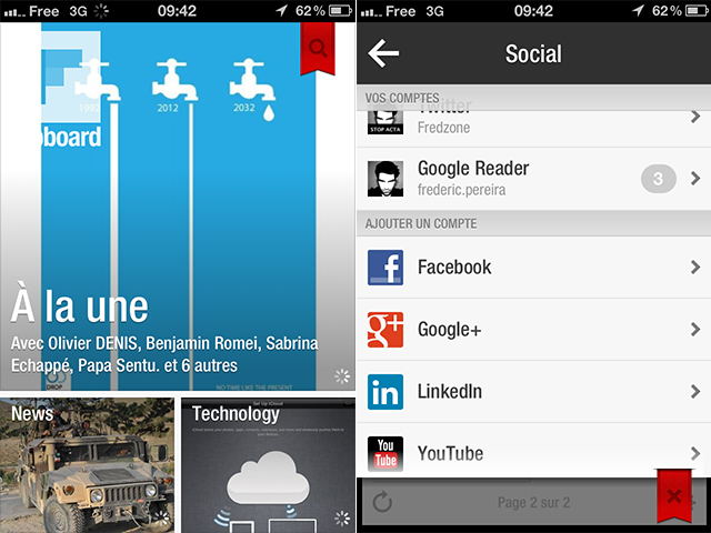 Flipboard iOS : Google+ et YouTube font son entrée !