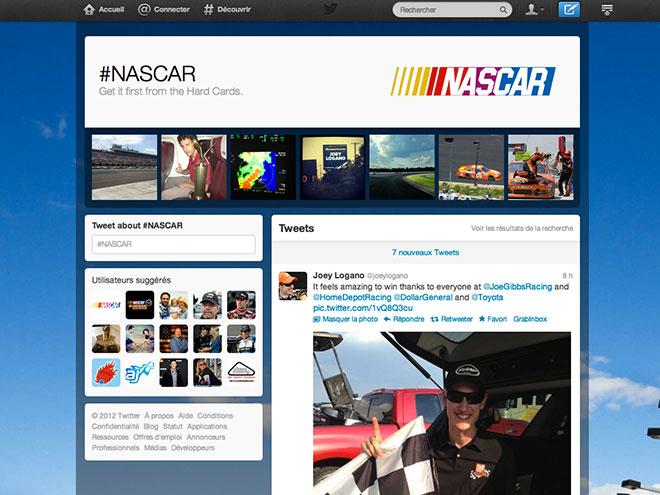 Twitter : des pages pour les hashtags avec #nascar