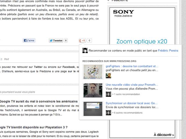 Activer les recommandations du bouton Google +1