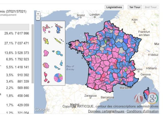 Les résultats du second tour des Législatives 2012 avec Google Maps