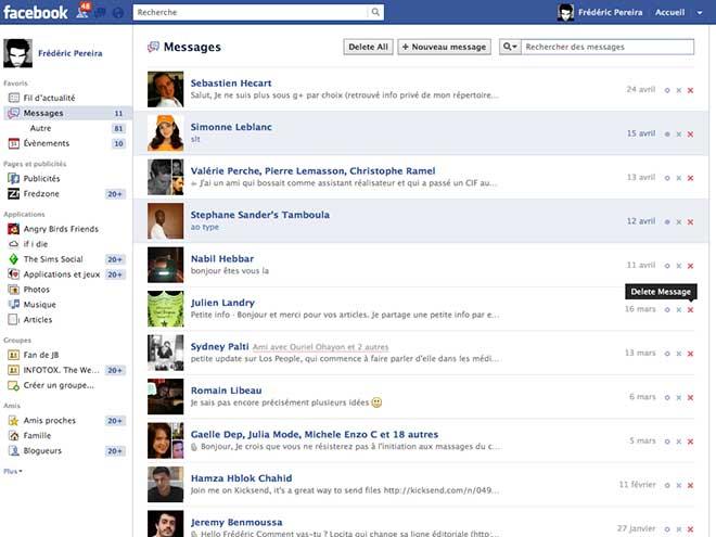 Supprimer tous les messages reçus sur Facebook en un clic