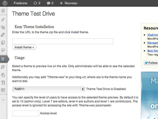 Wordpress : Theme Test Drive, pour tester ses thèmes en toute discrétion