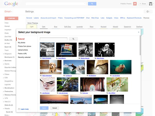 Gmail : les thèmes personnalisés font leur entrée