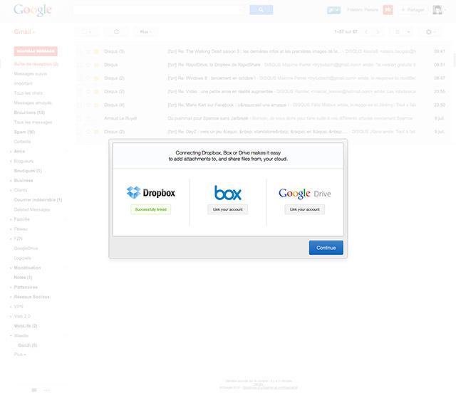 Dropbox et Google Drive dans Gmail avec Attachments.me