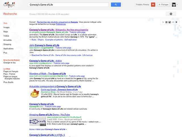 "Conway's Game of Life, un nouvel ""easter egg"" pour Google"