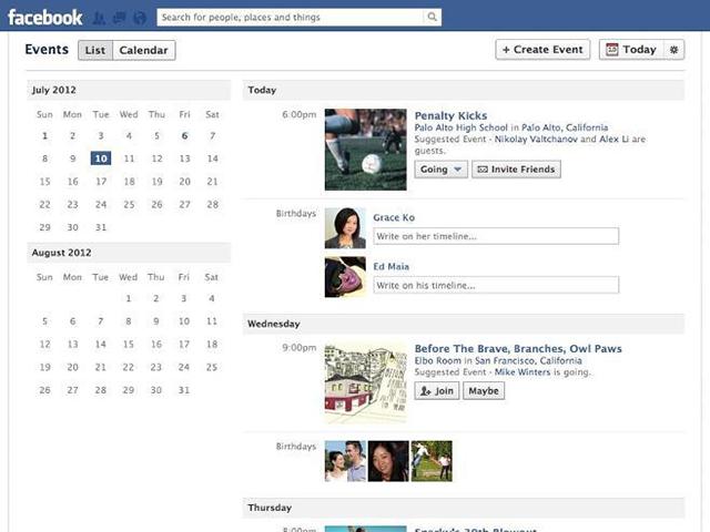 Facebook : une nouvelle vue pour les évènements