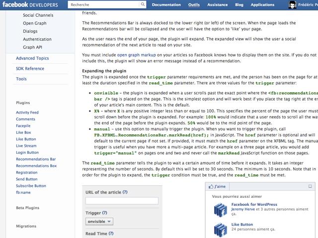 """Facebook lance un nouveau widget : le """"Recommandations Bar"""""""