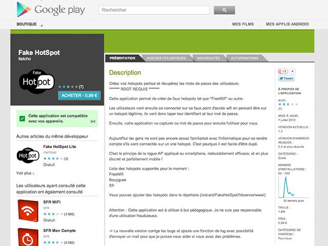 Créer de faux hotspots wifi sur Android avec FakeHotSpot